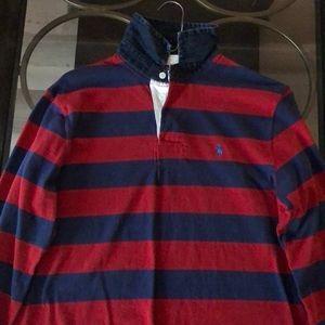 Ralph Lauren Long Sleeve Polo with Denim Collar